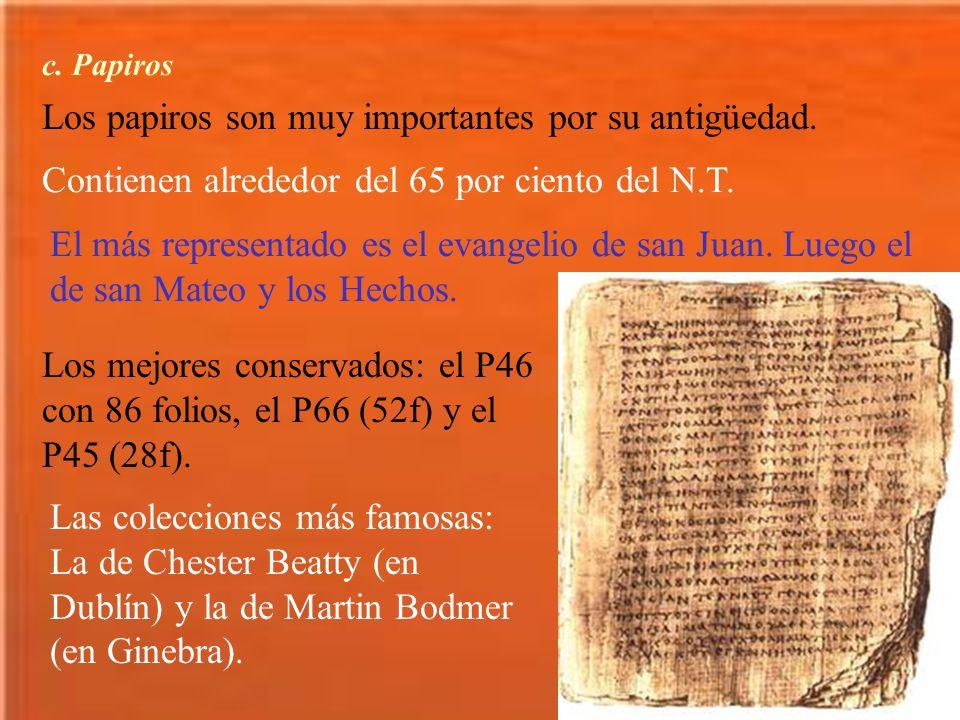 Los papiros son muy importantes por su antigüedad.