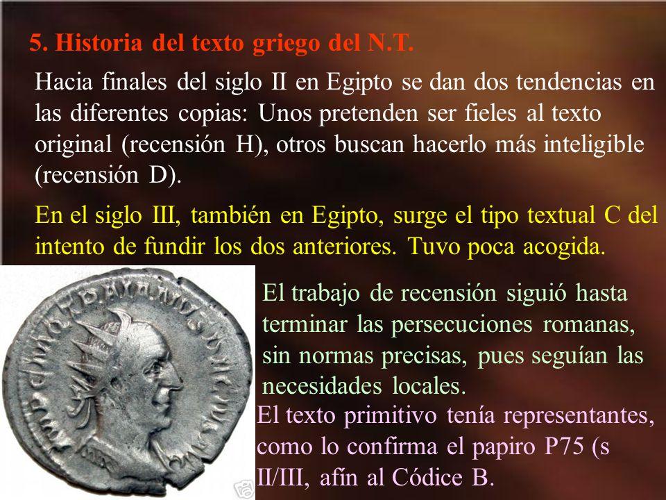 5. Historia del texto griego del N.T.
