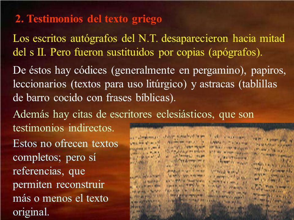 2. Testimonios del texto griego