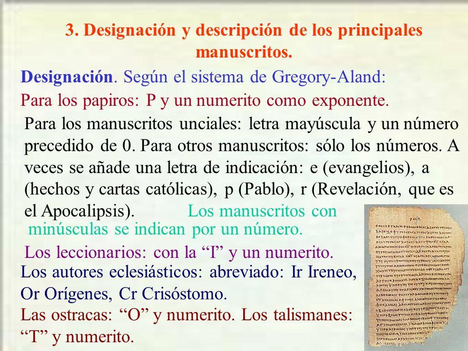 3. Designación y descripción de los principales manuscritos.
