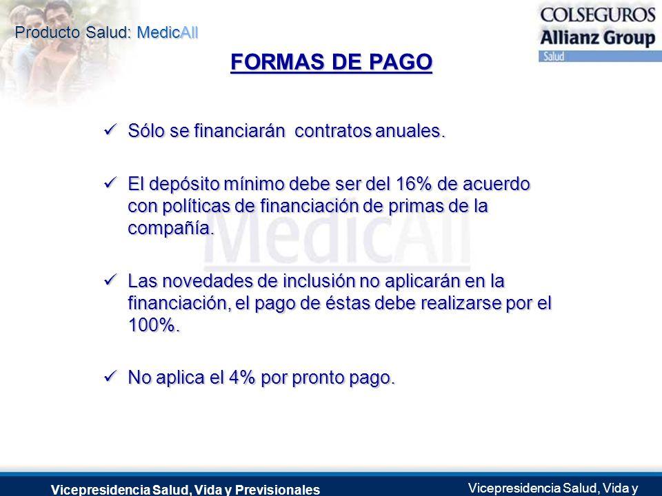 FORMAS DE PAGO Sólo se financiarán contratos anuales.