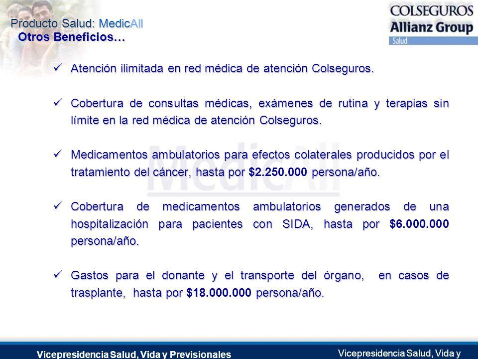 Atención ilimitada en red médica de atención Colseguros.