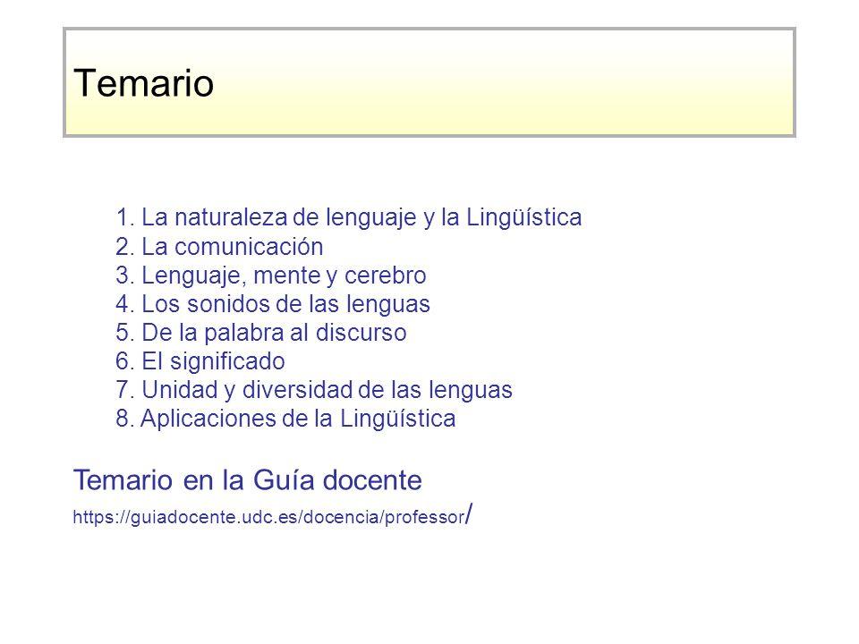 Temario 1. La naturaleza de lenguaje y la Lingüística