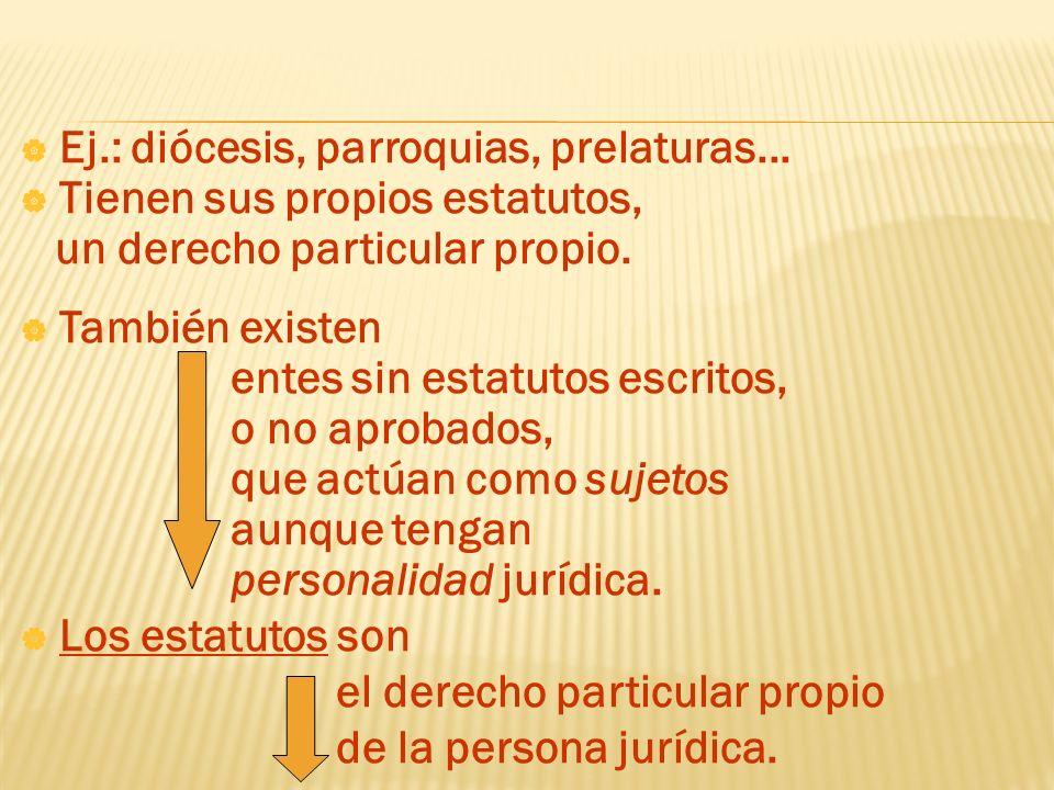 Ej.: diócesis, parroquias, prelaturas...