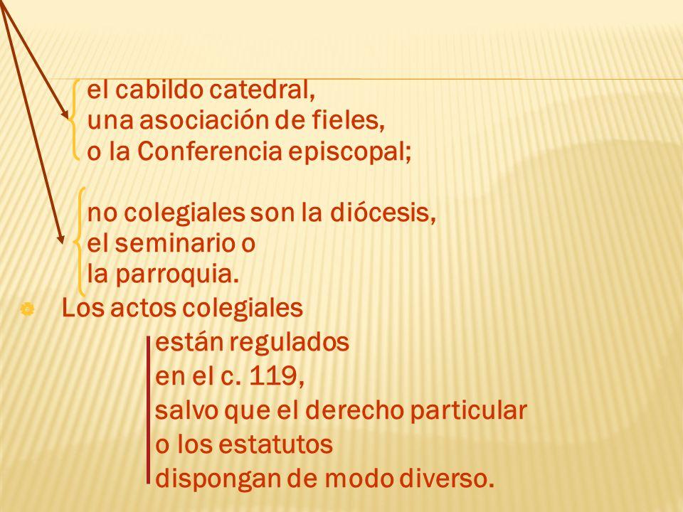 el cabildo catedral, una asociación de fieles, o la Conferencia episcopal; no colegiales son la diócesis,