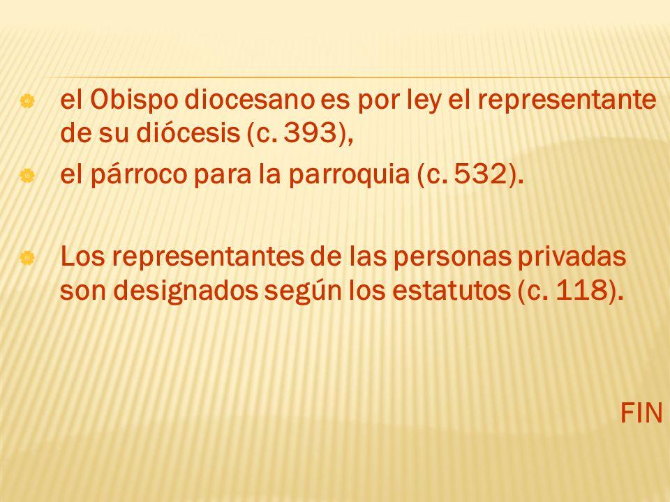 el Obispo diocesano es por ley el representante de su diócesis (c