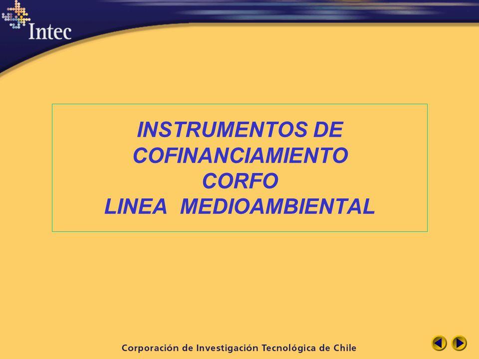 INSTRUMENTOS DE COFINANCIAMIENTO CORFO LINEA MEDIOAMBIENTAL
