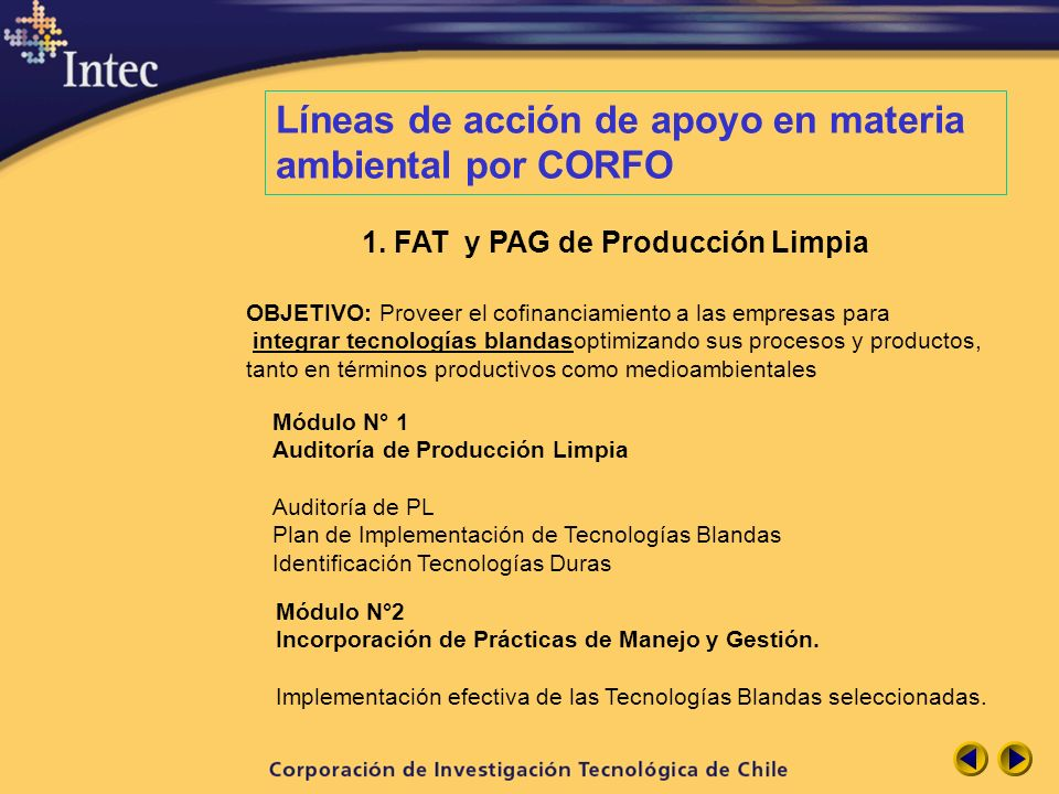 Líneas de acción de apoyo en materia ambiental por CORFO