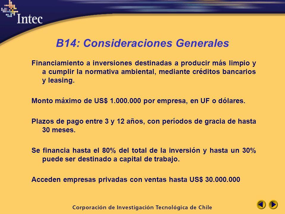 B14: Consideraciones Generales
