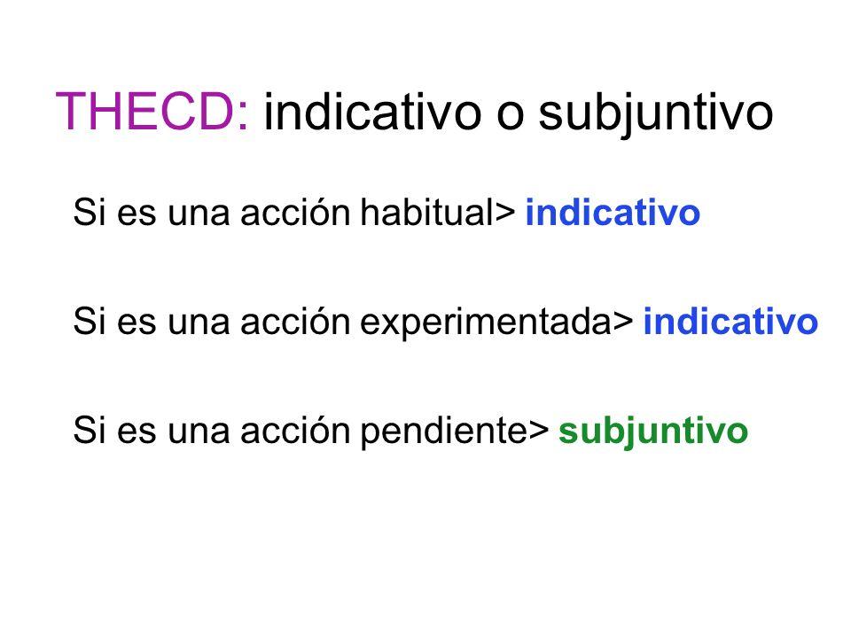 THECD: indicativo o subjuntivo
