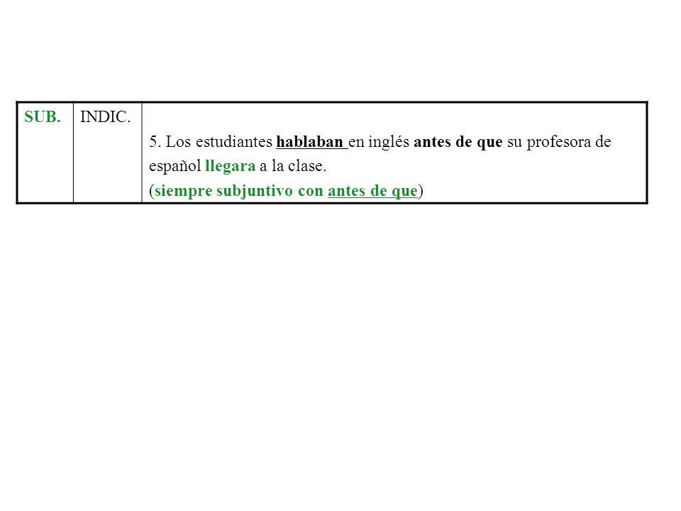 SUB.INDIC. 5. Los estudiantes hablaban en inglés antes de que su profesora de. español llegara a la clase.