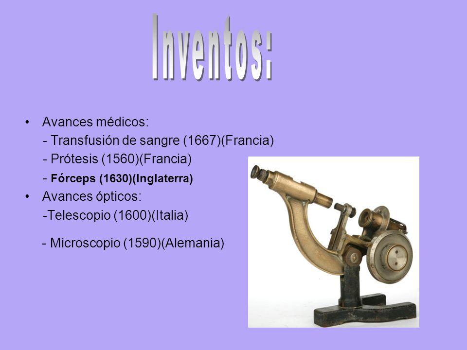 Inventos: - Microscopio (1590)(Alemania) Avances médicos: