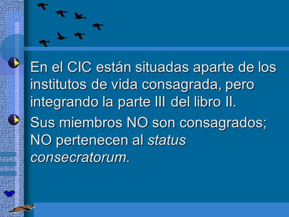 En el CIC están situadas aparte de los institutos de vida consagrada, pero integrando la parte III del libro II.