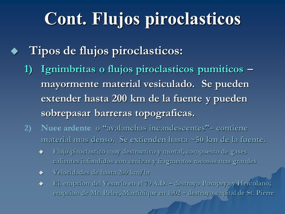 Cont. Flujos piroclasticos