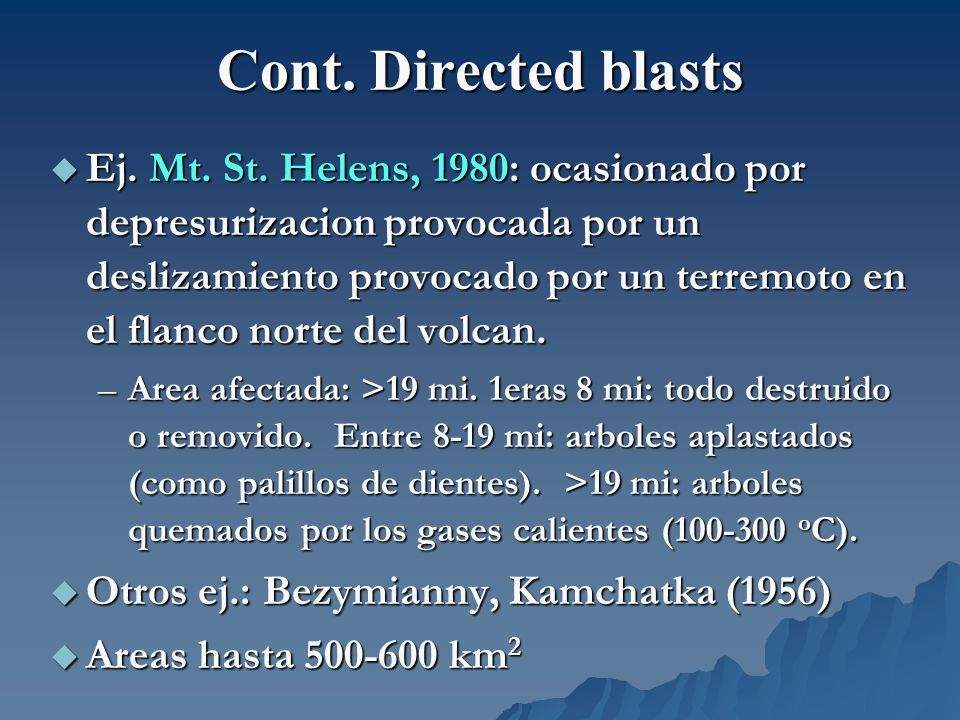 Cont. Directed blasts