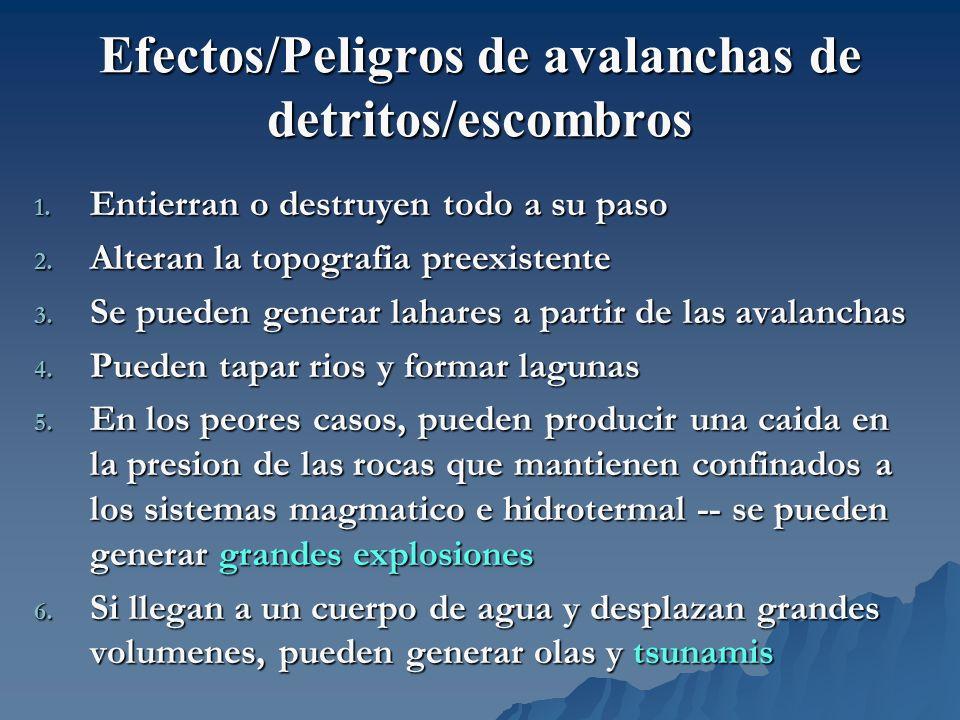 Efectos/Peligros de avalanchas de detritos/escombros