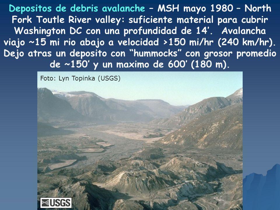 Depositos de debris avalanche – MSH mayo 1980 – North Fork Toutle River valley: suficiente material para cubrir Washington DC con una profundidad de 14'. Avalancha viajo ~15 mi rio abajo a velocidad >150 mi/hr (240 km/hr). Dejo atras un deposito con hummocks con grosor promedio de ~150' y un maximo de 600' (180 m).