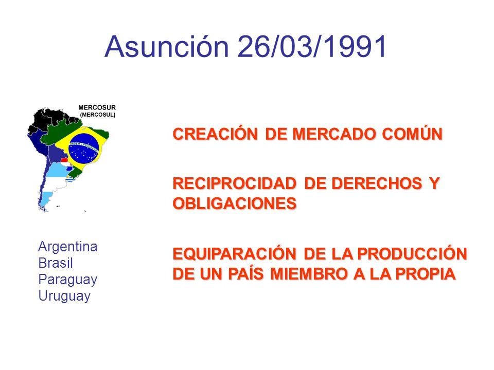 Asunción 26/03/1991 CREACIÓN DE MERCADO COMÚN