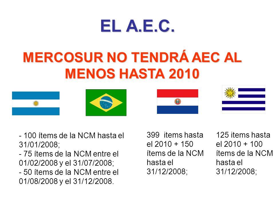 MERCOSUR NO TENDRÁ AEC AL MENOS HASTA 2010