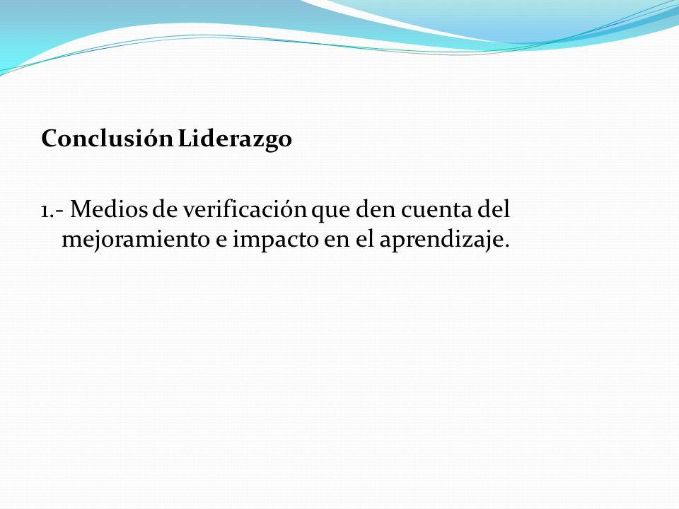 Conclusión Liderazgo 1.- Medios de verificación que den cuenta del mejoramiento e impacto en el aprendizaje.