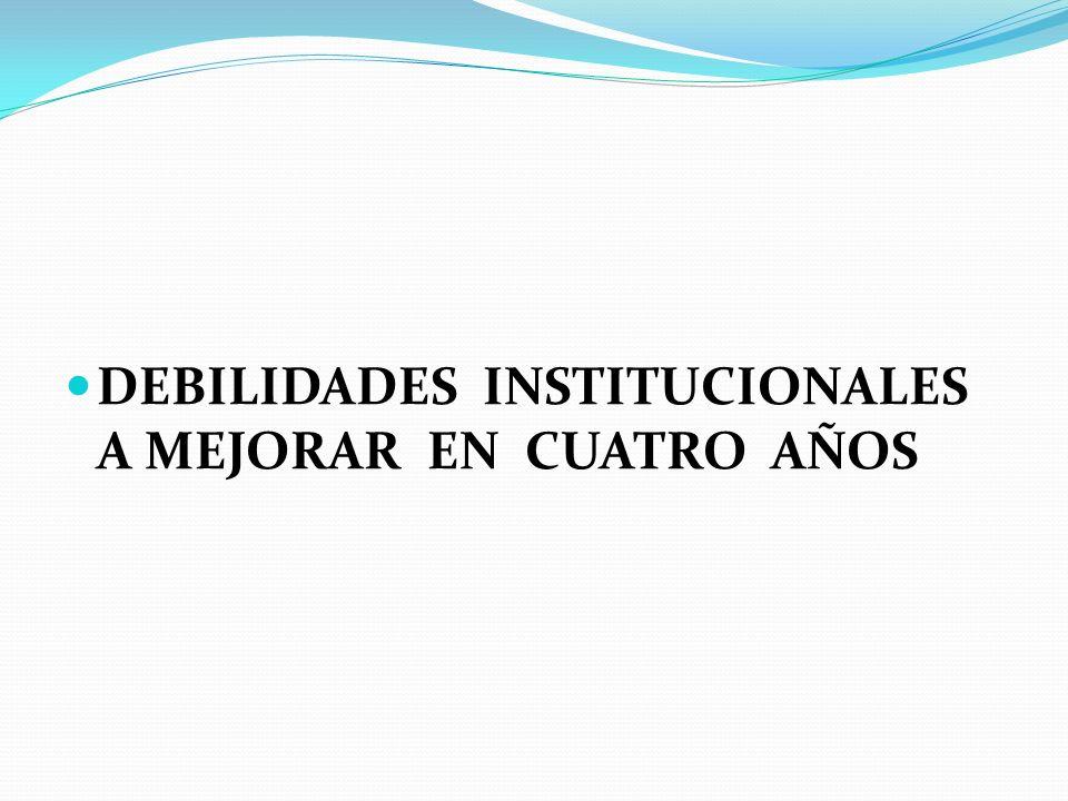 DEBILIDADES INSTITUCIONALES A MEJORAR EN CUATRO AÑOS