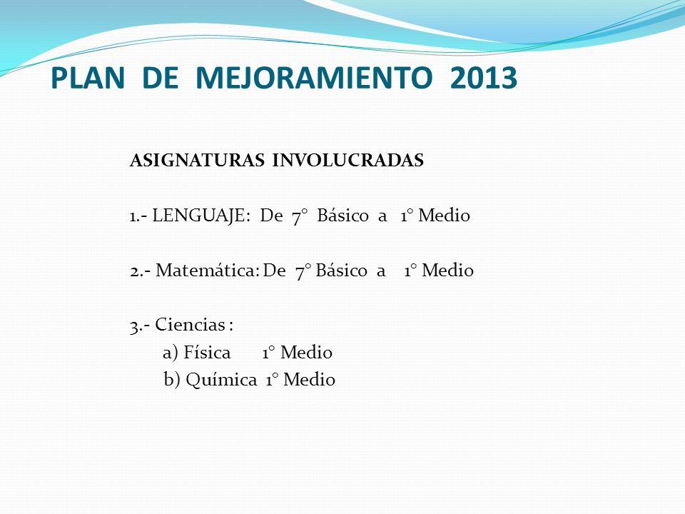 PLAN DE MEJORAMIENTO 2013