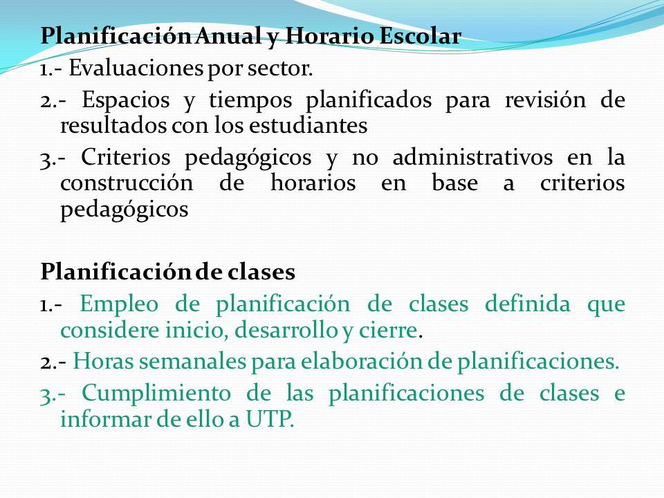 Planificación Anual y Horario Escolar 1. - Evaluaciones por sector. 2