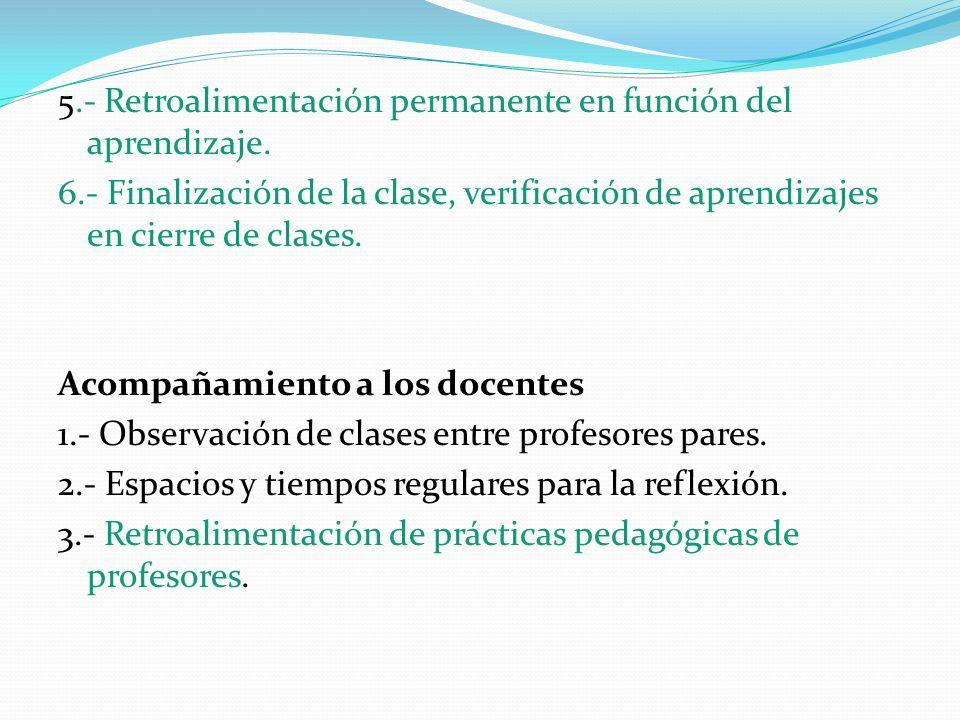 5. - Retroalimentación permanente en función del aprendizaje. 6