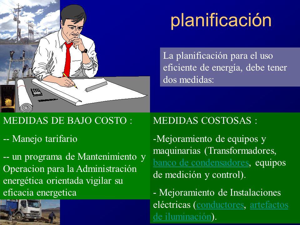 planificaciónLa planificación para el uso eficiente de energía, debe tener dos medidas: MEDIDAS DE BAJO COSTO :