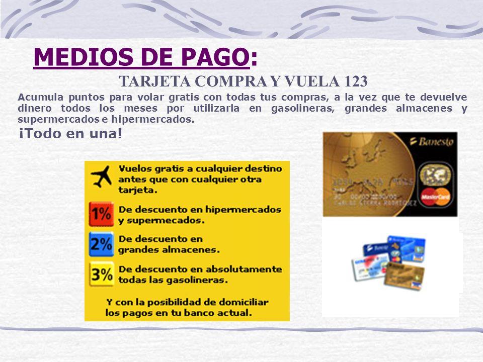 MEDIOS DE PAGO: TARJETA COMPRA Y VUELA 123