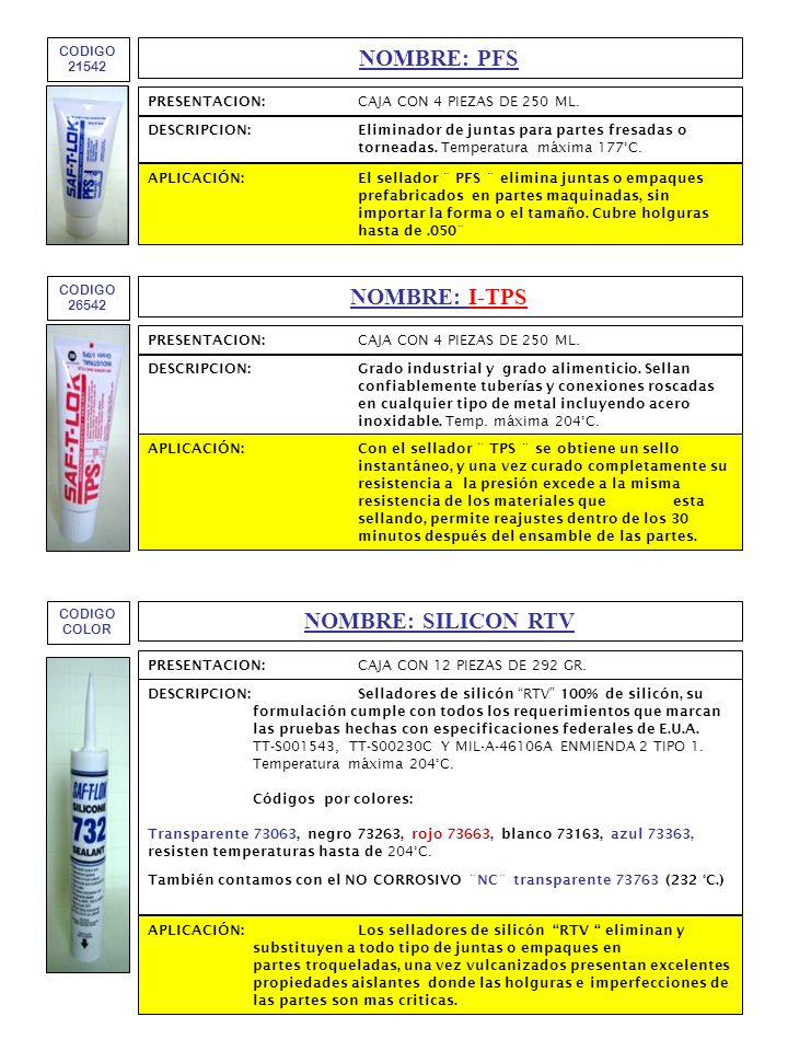 NOMBRE: PFS NOMBRE: I-TPS NOMBRE: SILICON RTV