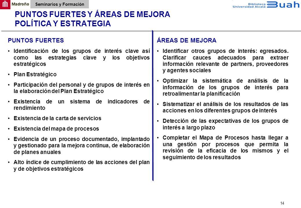 PUNTOS FUERTES Y ÁREAS DE MEJORA POLÍTICA Y ESTRATEGIA