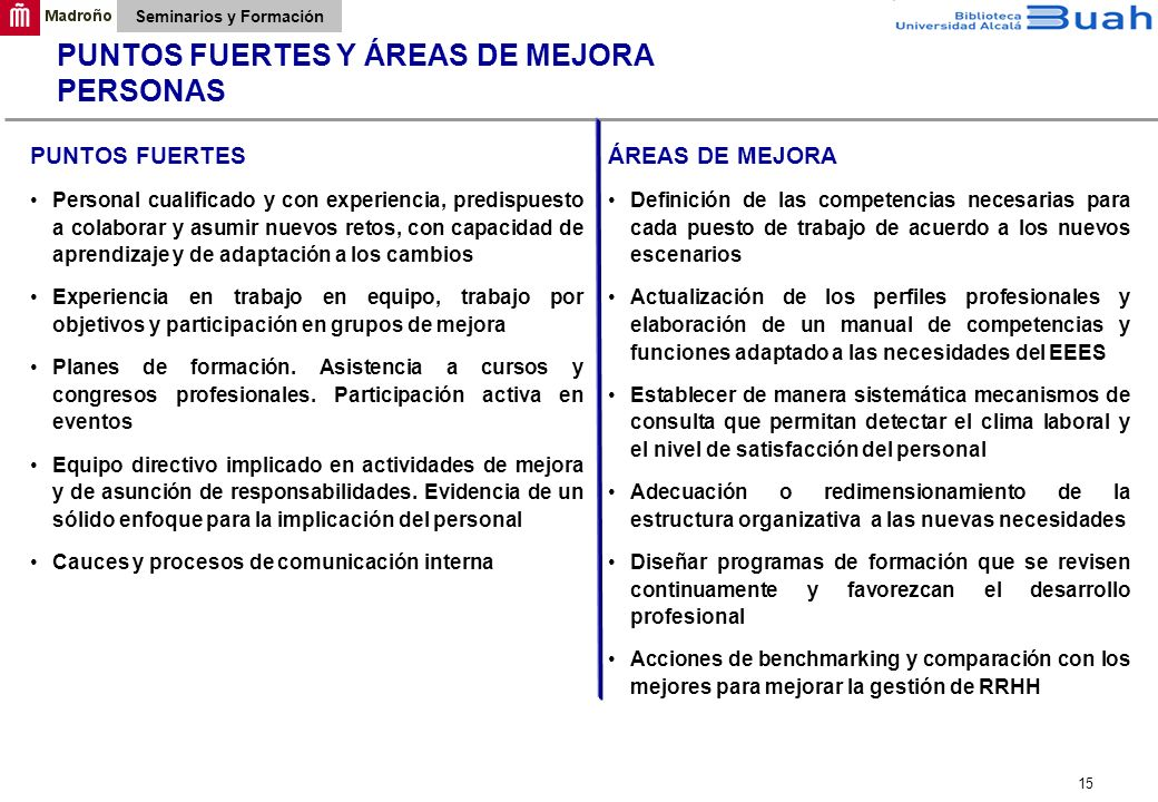 PUNTOS FUERTES Y ÁREAS DE MEJORA PERSONAS