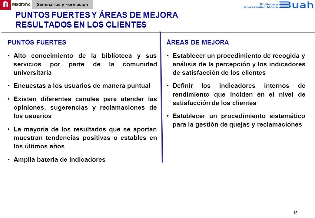 PUNTOS FUERTES Y ÁREAS DE MEJORA RESULTADOS EN LOS CLIENTES