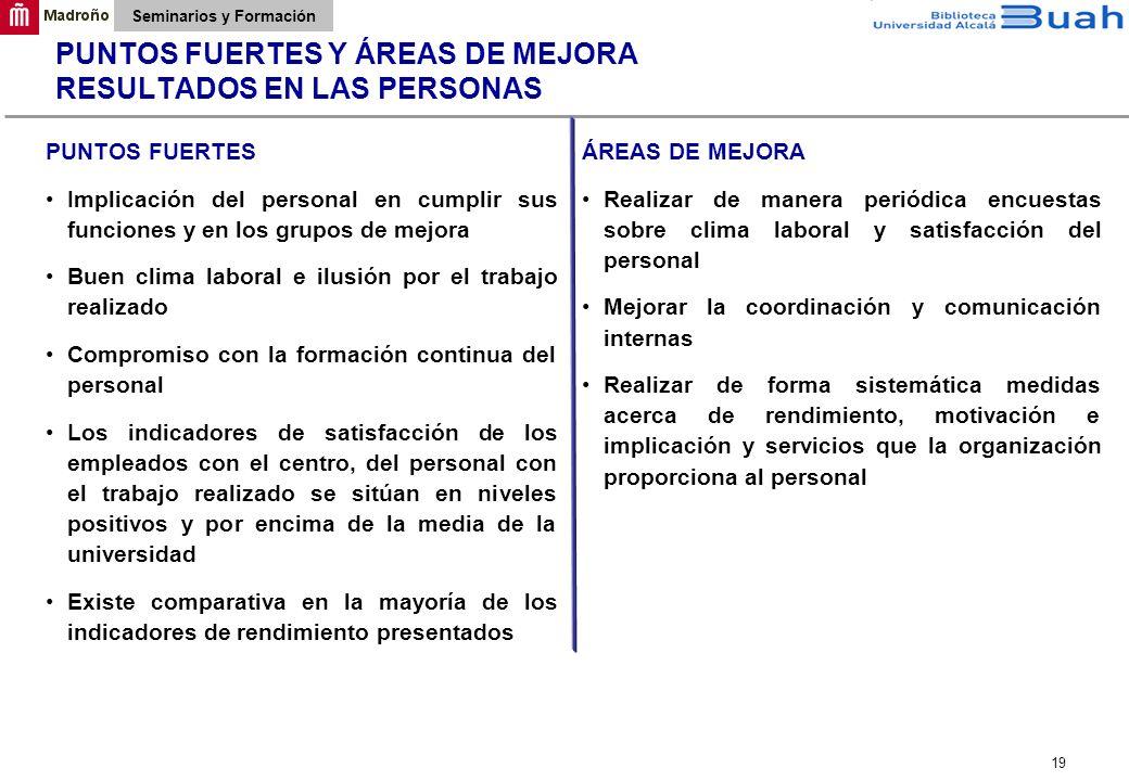 PUNTOS FUERTES Y ÁREAS DE MEJORA RESULTADOS EN LAS PERSONAS