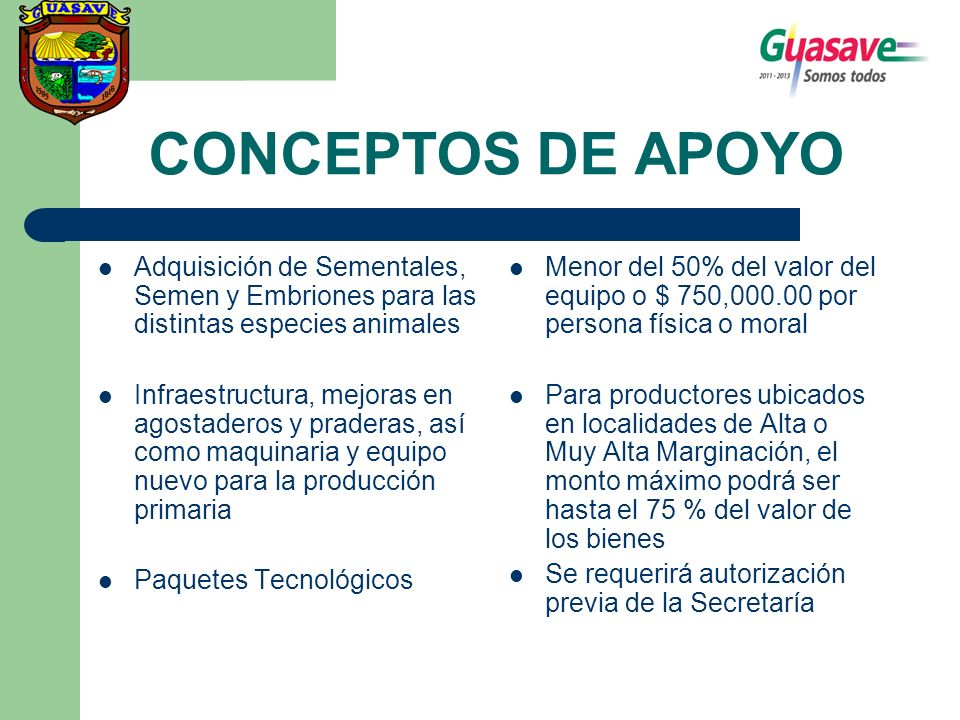 CONCEPTOS DE APOYO Adquisición de Sementales, Semen y Embriones para las distintas especies animales.