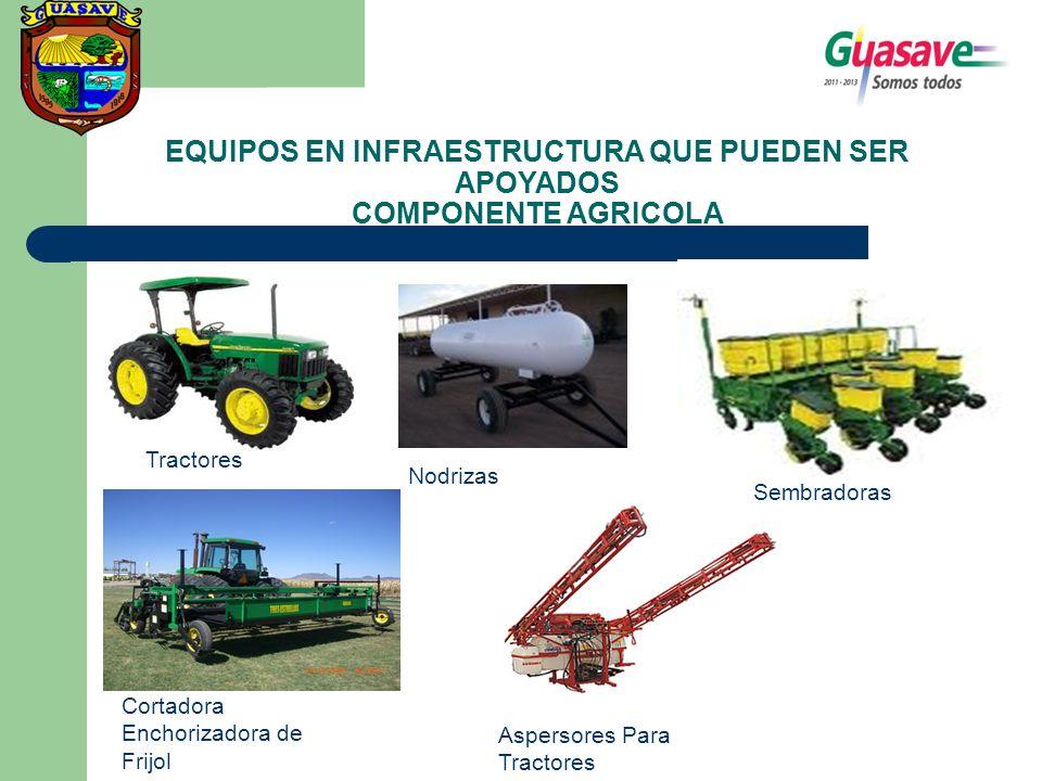 EQUIPOS EN INFRAESTRUCTURA QUE PUEDEN SER APOYADOS COMPONENTE AGRICOLA