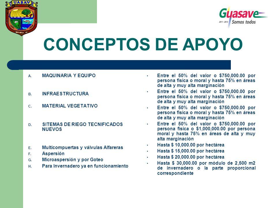 CONCEPTOS DE APOYO MAQUINARIA Y EQUIPO INFRAESTRUCTURA