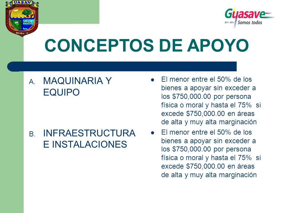 CONCEPTOS DE APOYO MAQUINARIA Y EQUIPO INFRAESTRUCTURA E INSTALACIONES
