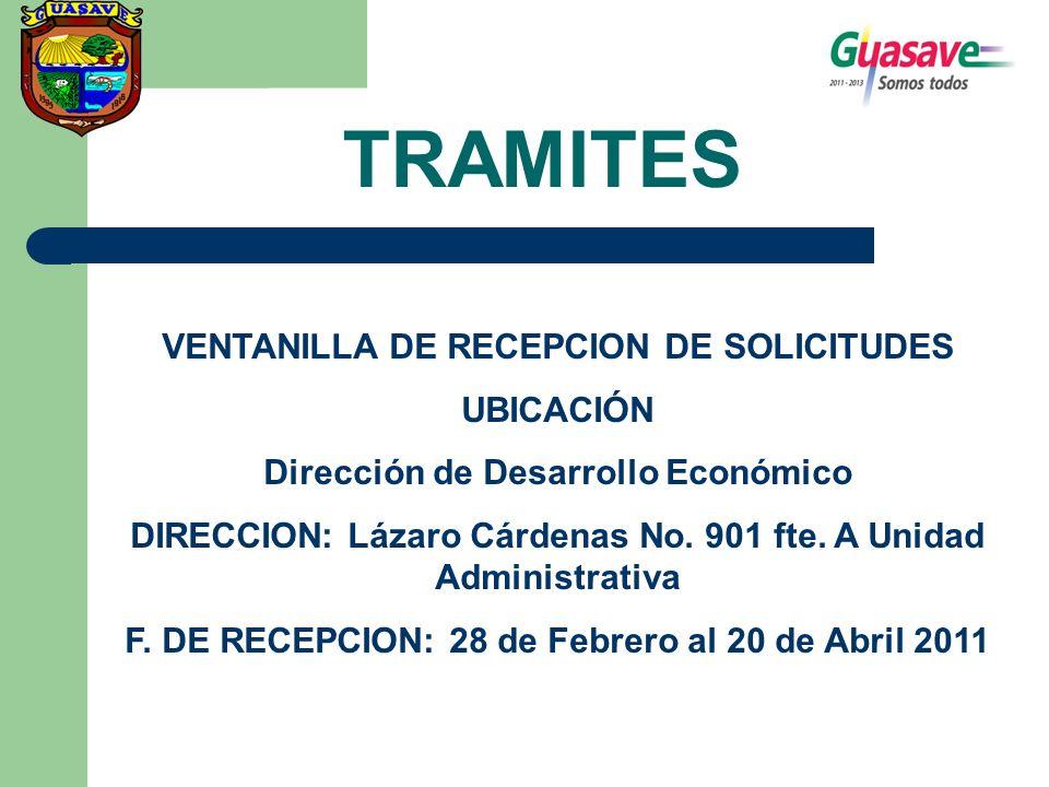 TRAMITES VENTANILLA DE RECEPCION DE SOLICITUDES UBICACIÓN