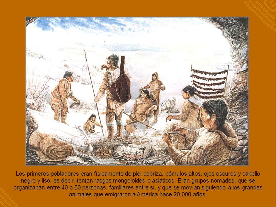 Los primeros pobladores eran físicamente de piel cobriza, pómulos altos, ojos oscuros y cabello negro y liso, es decir, tenían rasgos mongoloides o asiáticos.
