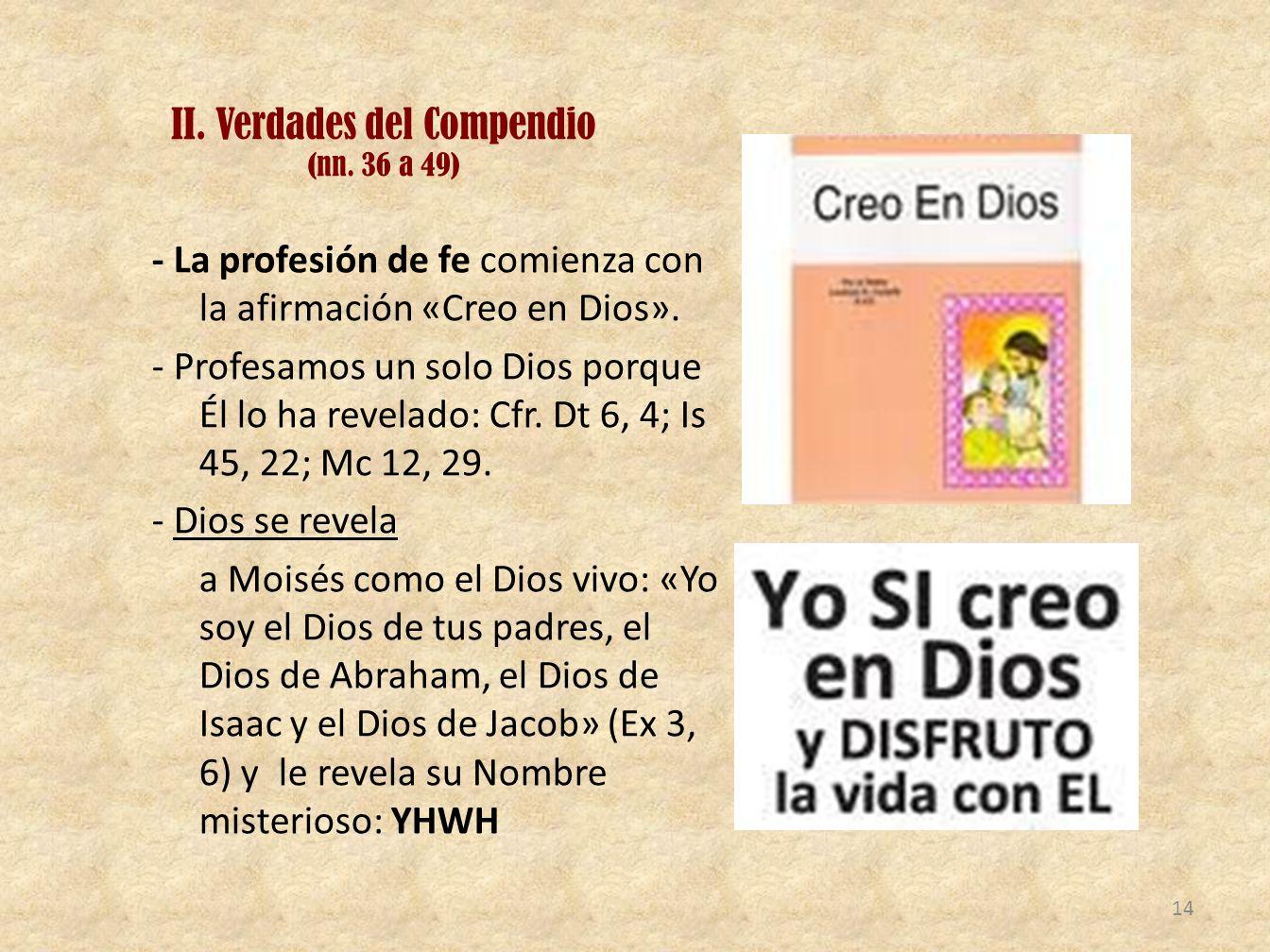 II. Verdades del Compendio (nn. 36 a 49)