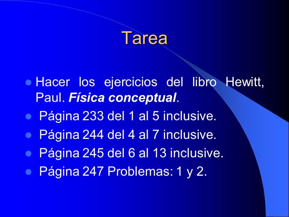Tarea Hacer los ejercicios del libro Hewitt, Paul. Física conceptual.