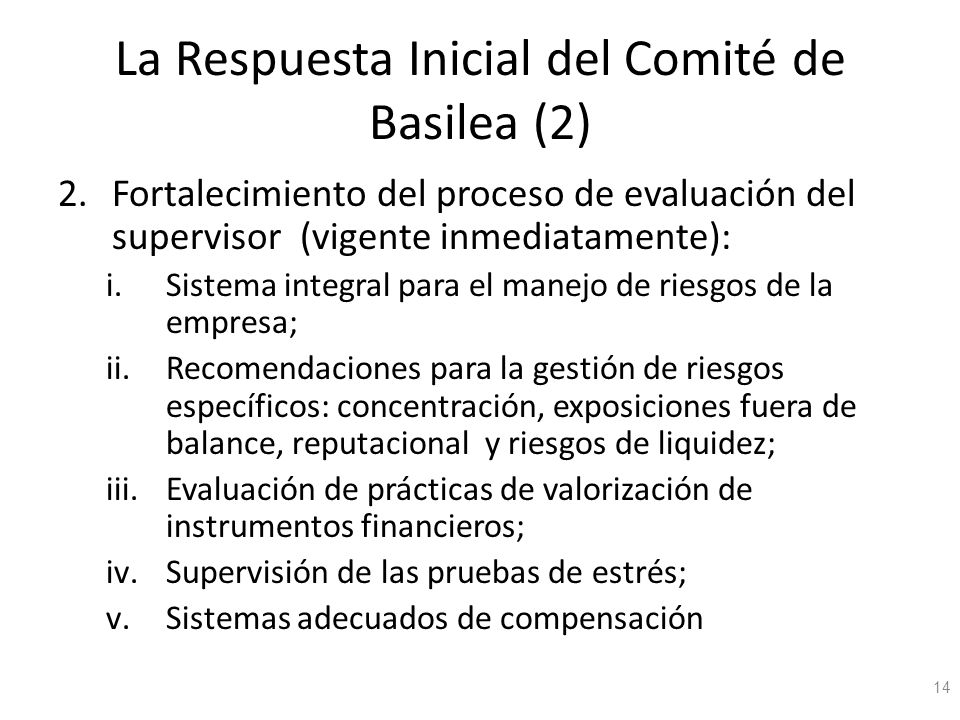La Respuesta Inicial del Comité de Basilea (2)