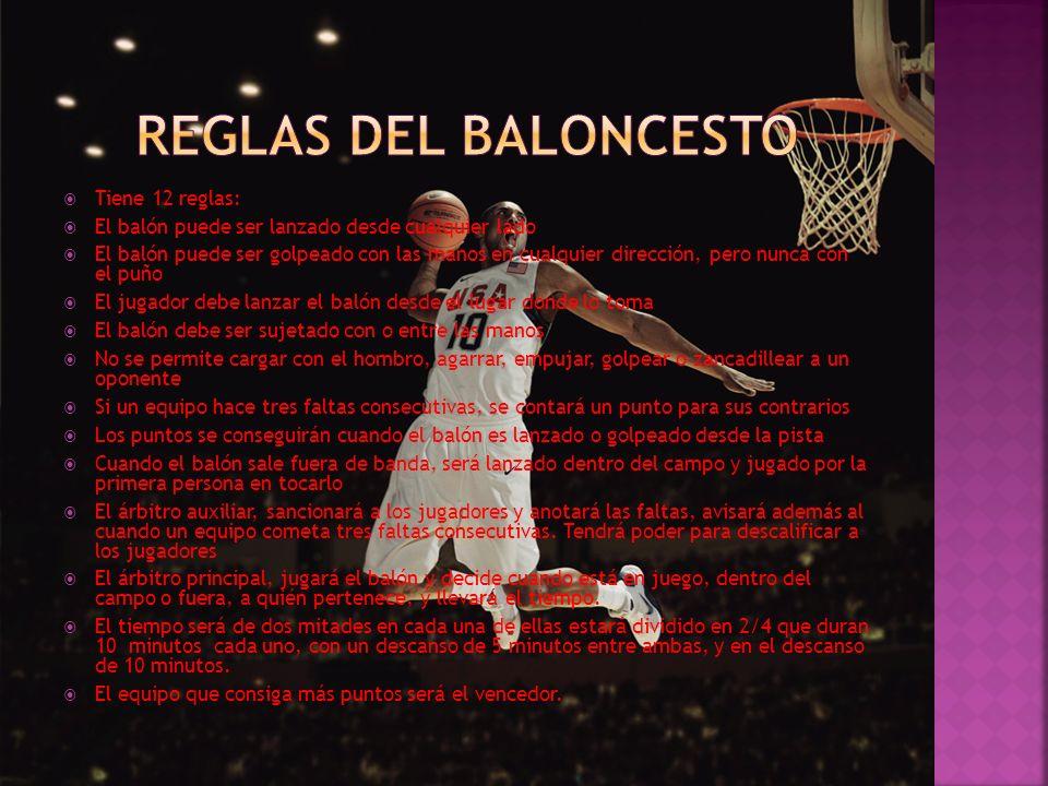REGLAS DEL BALONCESTO Tiene 12 reglas: