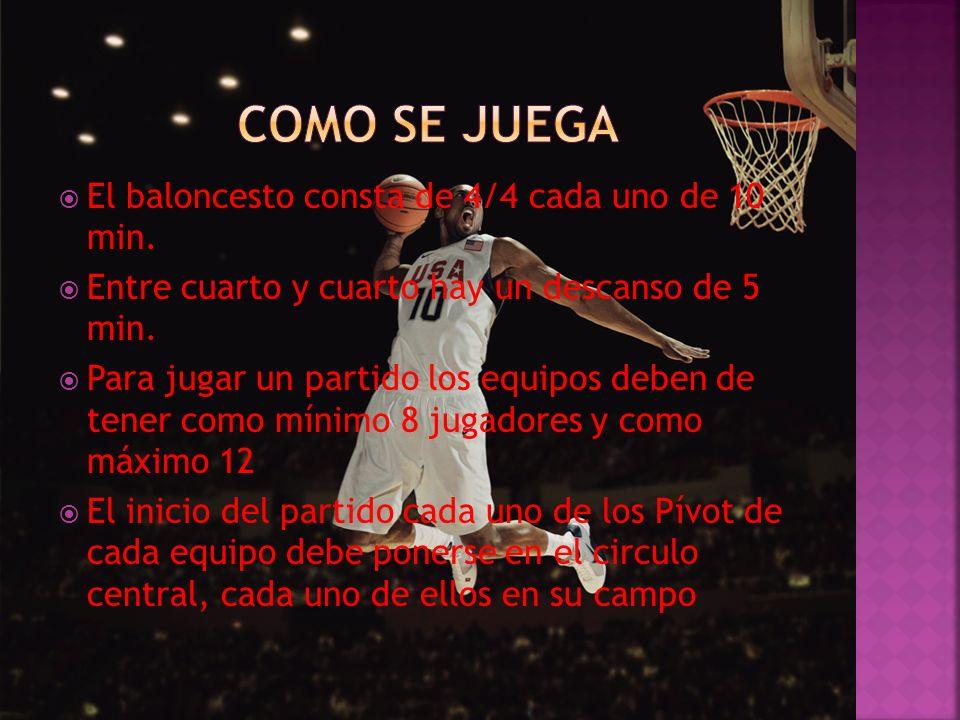 COMO SE JUEGA El baloncesto consta de 4/4 cada uno de 10 min.