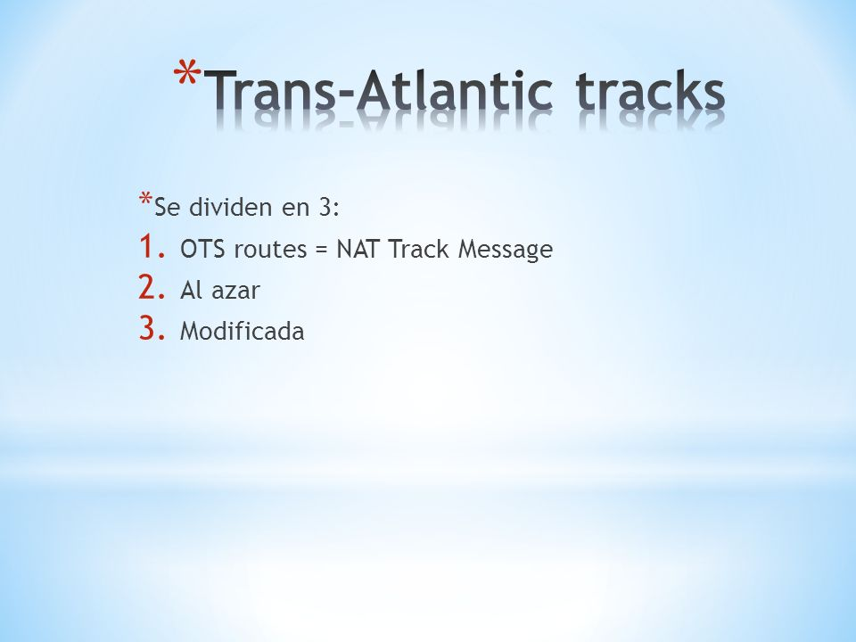 Trans-Atlantic tracks