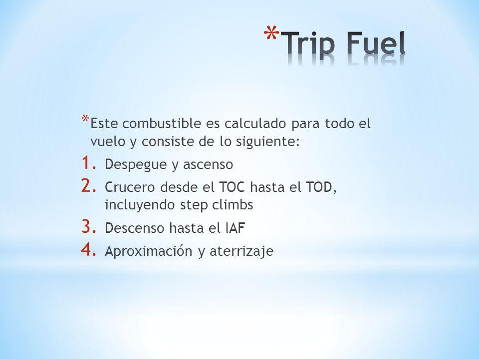 Trip Fuel Este combustible es calculado para todo el vuelo y consiste de lo siguiente: Despegue y ascenso.