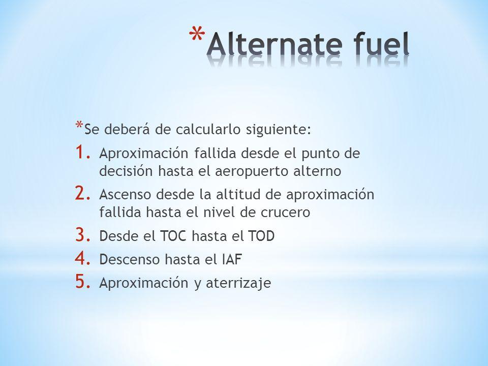 Alternate fuel Se deberá de calcularlo siguiente: