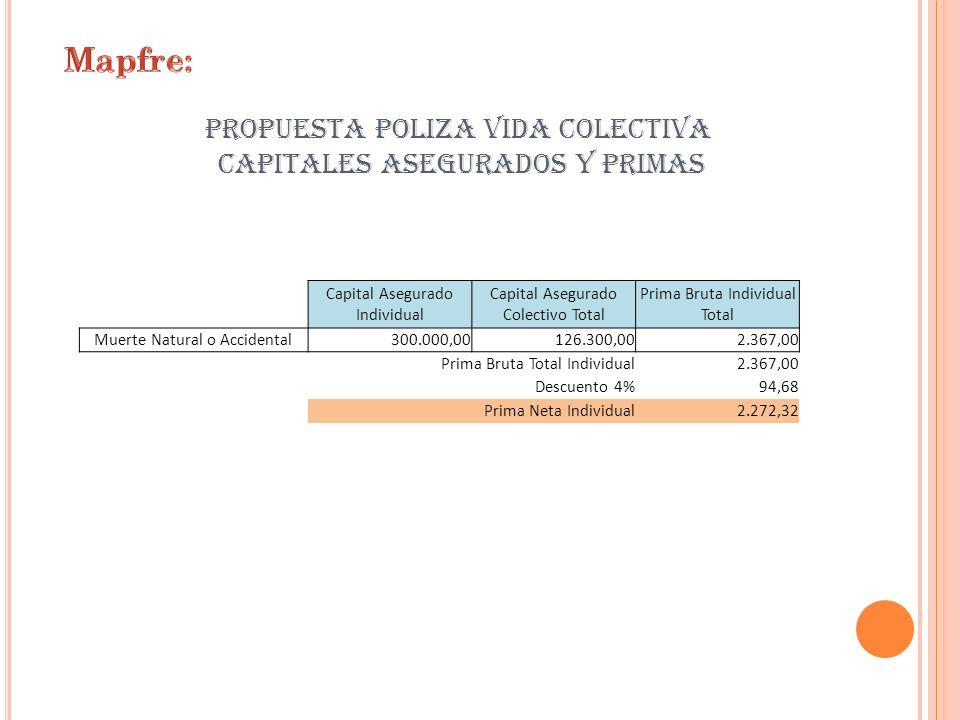 PROPUESTA POLIZA VIDA COLECTIVA CAPITALES ASEGURADOS Y PRIMAS